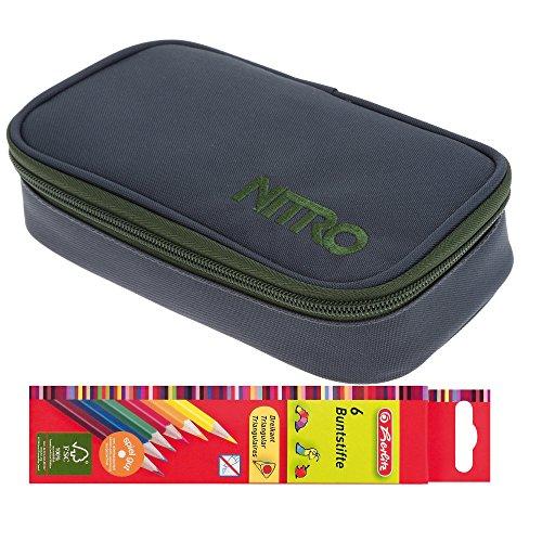 Set: Nitro Mäppchen Pencil Case XL Federmäppchen große Etuibox + 6 Stifte (Pirate Black 1958)