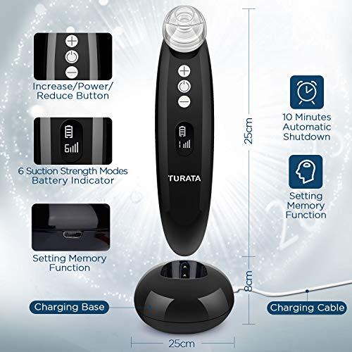 Limpiador de Poros, TURATA Eliminador de Puntos Negros 6 Niveles de la Succión con USB Carga Portátil para Eliminación de Espinillas y Acné, 4 cabezas reemplazables kit eliminación (Negro)