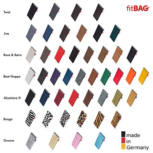 fitBAG Beat Cognac Handytasche Tasche aus Echtleder Nappa mit Microfaserinnenfutter für Apple iPhone 6 Plus / 6S Plus / 7 Plus (5,5 Zoll) | Schlanke Hülle als edles Zubehör mit praktischer Reinigungsf Fusion Schwarz/Schwarz