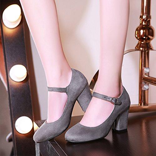 YE Damen Blockabsatz High Heels Mary Jane Pumps mit Riemchen 8cm Absatz Office Work Schuhe with Schnalle Grau