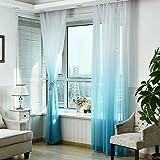Tonsee Schürzen Tüll Voile Tür Fenster Gradient Vorhang Tuch Teiler Dekor (Blau)