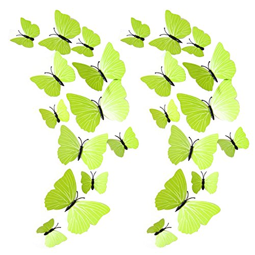 Orientalische Holz-bildschirm (Eizur Abnehmbare PVC Wandaufkleber Wall Sticker DIY Schmetterling Magnet Wandtattoo Wandbild Dekoration 12 Stück/24 Stück Optional (Regenbogen/Bunte/Blau/Schwarz/Weiß/Rot/Grün))