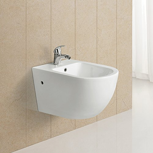 Homelody® Zeitgenössisch Wand Hänge WC Bidet Toilette aus Keramik mit Nano Beschichtung Weiss spezialglasierte Vollkeramik
