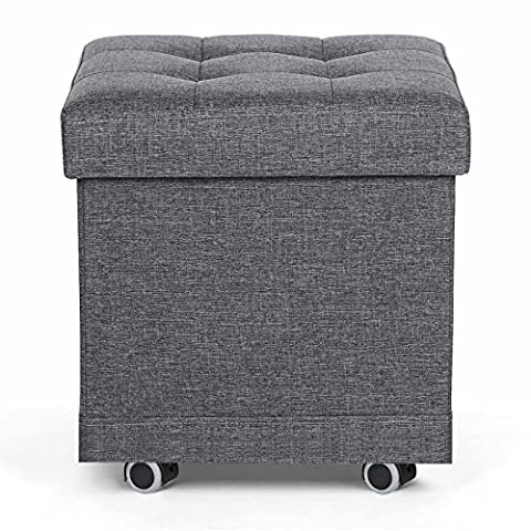 Songmics Folding Ottoman Storage Bench with 4 Castors and up to 35 Litres of Space 38 x 38 x 40 cm Linen Grey
