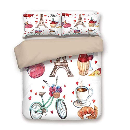 LIS HOME Bettbezug-Set, Paris, Paris Illustration der Herzen Eiffelturm Rotwein Kaffee Parfüm Romance-Themen Kunst, Rotbraun, dekorativ 3 Stück Bettwäsche-Set von 2 Pillow Shams Full/Queen Size