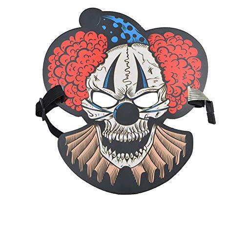 rach-aktivierte grelle Maske Erwachsene Halloween-Horror-Nachtparty-Party Leuchtstoff-LED-Maske, Clown 4 ()