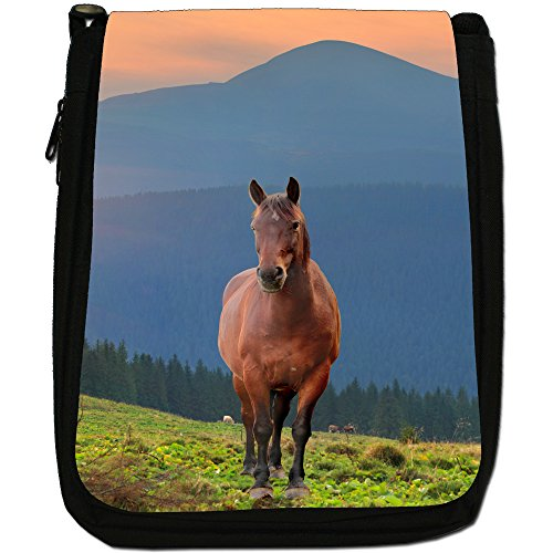Elegante cavallo marrone medio nero borsa in tela, taglia M Brown Horse Standing Mountains