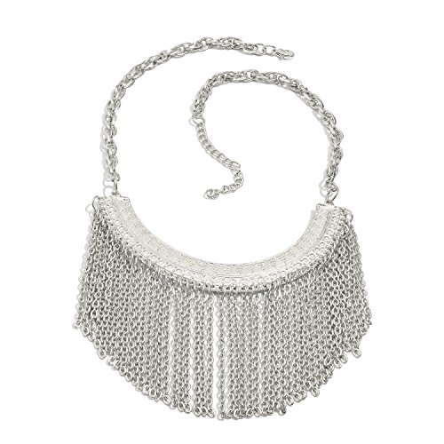 Vaibhav Silver Glossy Beaded Single Layer Ethnic Necklace For Women  available at amazon for Rs.479