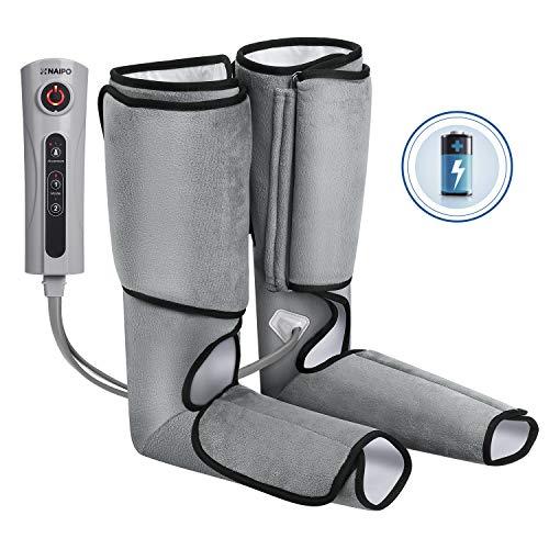 Naipo Massagegerät Beine Waden Massage Fußmassagegerät Luftkompression mit Wiederaufladbare Batterie für Fuß von 3 Intensitätsstufen -
