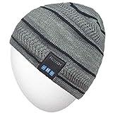Bonnet Bluetooth Rotibox, Casquette tricotée de qualité supérieure pour Sports de Plein air avec Casque stéréo sans Fil, Casque, Haut-Parleur, Micro, Mains Libres, Gris Clair