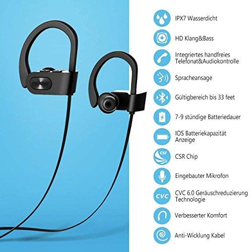 Mpow Flame Bluetooth Kopfhörer, IPX7 Wasserdicht Kopfhörer Sport, 7-10 Stunden Spielzeit/Bass+ Technologie, Sportkopfhörer Joggen/Laufen Bluetooth 4.1, In Ear Kopfhörer mit Mikrofon für iPhone Android - 5