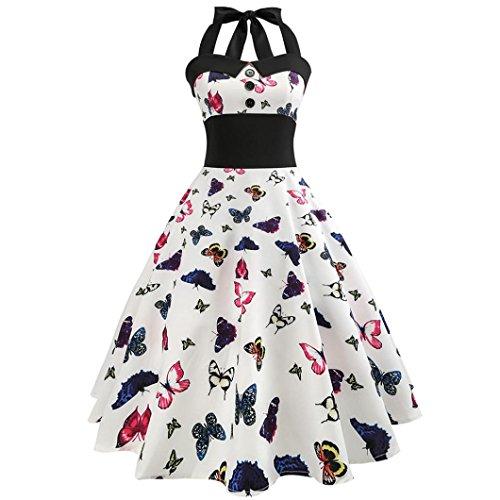 OverDose Damen Vintage-Schmetterlings-Printed Bodycon ärmelloses beiläufiges Cocktail-Abendkleid Ostern Partei-Kleid Büro Kleid Frühling Sommer Kleid (Designer-ostern-kleider)