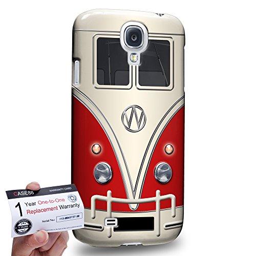 Case88 [Samsung Galaxy S4] 3D impresa Carcasa/Funda dura para & Tarjeta de garantía - Art Fashion Red Retro Bus Mini Van