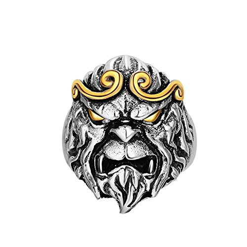 Anillo ajustable de plata de ley 925estilo vintage con cabeza de rey mono, detalle dorado