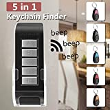 Glisteny Key Finder, 5 in 1 Wireless Key Chain Tracker Remote Control RF Item Locator with Base Support for Keys, Dogs, Cats, Wallet, Cell Phone, Best Gifts
