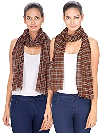 Anekaant Checkered Acrylic Wool Stole Pack Of 2 (55x180 cm)_ADS1051