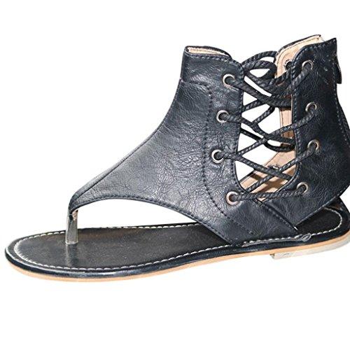 GrößE Flach Zip Damen Strand Band RöMersandalen Prise Flachem Boden RöMischen Sandalen Riemchen Ankle Flachriemen Schuhe (40, Schwarz) ()