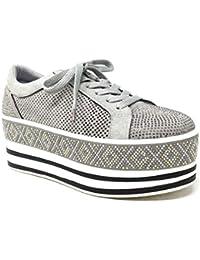 Angkorly - Scarpe Moda Sneaker Zeppe Vintage retrò Street Donna Strass  Perforato Motivo a Strisce Tacco Zeppa… 85bf7e4a2e2