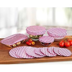 Wenko Topfhauben-Set, 12 Teile, Hauben mit Gummizug, Abdeckung | geruchs- & geschmacksneutral, wieder verwendbar, Kunststoff