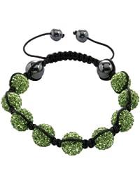Burgmeister Jewelry Damen-Armband Shamballa peridotfarbig Länge variierbar, verschiedene Steine auf schwarzem Textilband JBM1152-598