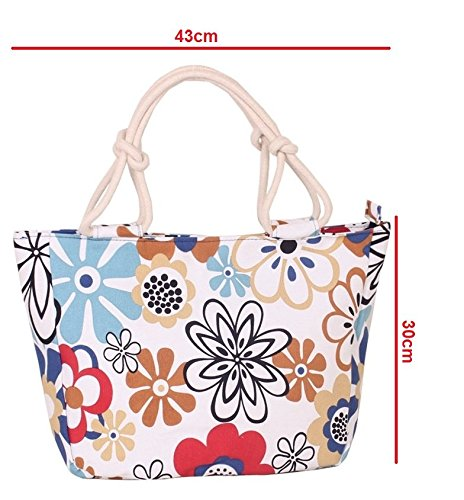 GetThatBag© Donne Grande Tela Beach brillante Tote Shopper Handbag - Bold Blu Giallo Rosa Rosso Viola Grigio Marrone Verde Nero Stripes floreali Circles Chevron Floral White Red