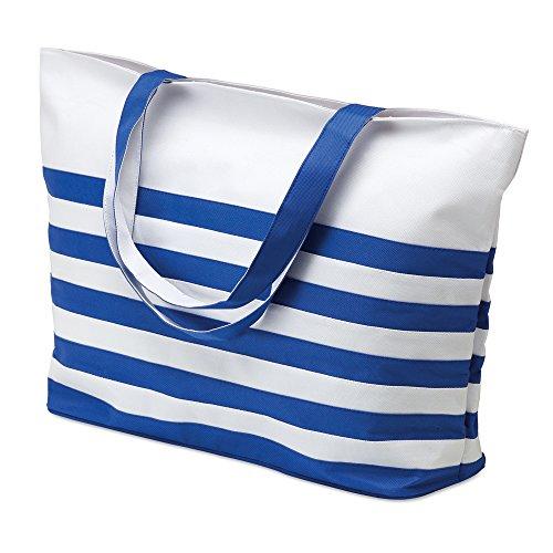 Damen Sommer Strandtasche - weiß nautische gestreifte Einkaufen Umhängetasche (Gestreifte Handtasche Blau)