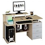 hjh OFFICE Computertisch Büro-Schreibtisch STELLA mit Standcontainer, Tastaturauszug, Monitorpodest, viele Ablagefächer, robust gefertigt, einfacher Aufbau, PC-Workstation (eiche/grau)