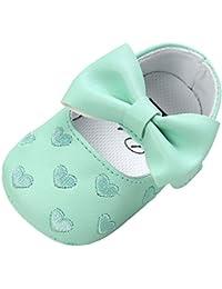 Fossen Zapatos Bebe Niña Primeros Pasos Zapatos de Princesa Arco Bordado en Forma de Corazon para Recién Nacido 0 a 18 meses