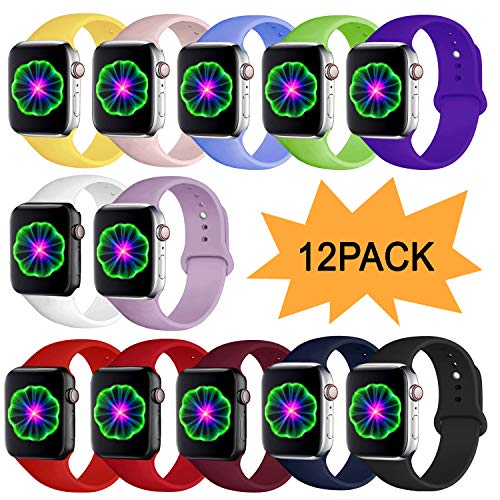 DCMEKA Correa Compatible con Apple Watch 38mm 42mm 40mm 44mm, Correa de Repuesto de Silicona Suave para Apple Watch Series 5/4/3/2/1, S/M, M/L