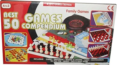 50 Games Compendium Set Chess, Draughts, Ludo, Space Travel Bingo, Four, Bowling, Starbaseball, Playing Cards, Poker Dice, Dominoes and many more