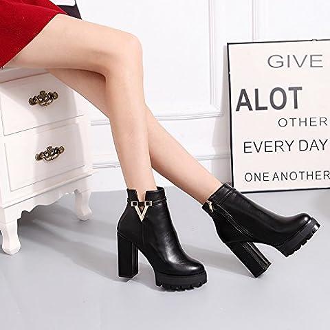San 2016 nuevo invierno y el algod¨®n Martin botas botas de tac¨®n alto botas de mujer botas femeninas desnudas ¨¢speros con ronda de la marea roja zapatos de la boda , black , 35
