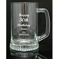 Personalised Engraved Quality Glass Tankard Gift, 30th Birthday Design, Blue Gift Box, Engraved Free