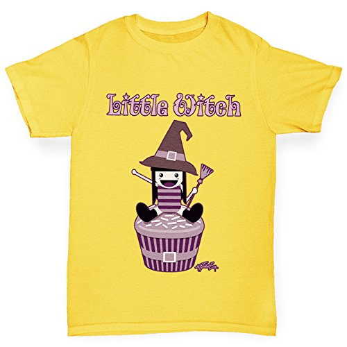 TWISTED ENVY Mädchen T-Shirt Little Witch Print Age 12-14 Gelb