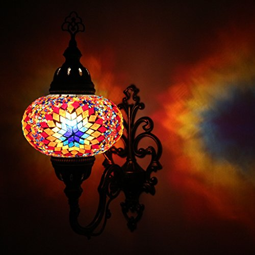 Multicolor Handmade Moroccan Turkish Ottoman Style Mosaic Wall Sconce Lamp Light with Large Size Globe
