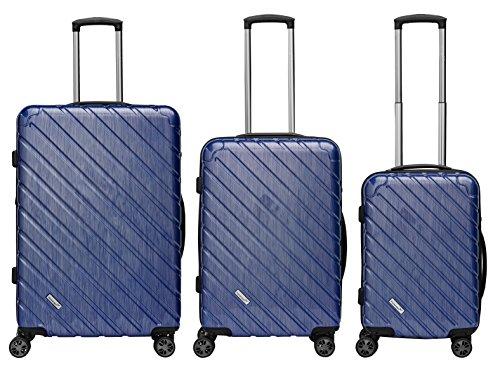 Packenger Kofferset - Vertical - 3-teilig (M, L & XL), Blau-Metallic, 4 Rollen, Koffer mit TSA- Schloss und Erweiterungsfach, Hartschalenkoffer (Polycarbonat), glänzend -