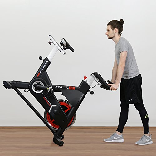 JLL IC600 Advanced Commercial Indoor Cycling Exercise Bike, Direct Belt Driven 22kg Flywheel with Adjustable Friction Resistance, 3-Piece Crank, 6-Function Monitor, Emergency Stop System, Ergonomic Handlebars with Heart Rate Sensors and 2x Bottle Holders, Fully Adjustable Seat, Built In Wheels, Ideal for Spin Classes & Home Gyms, 24 Months Home & Commercial Use Warranty
