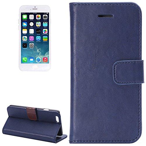 """wortek Flip Case Apple iPhone 6 Tasche (4,7"""") Etui Fächer für Karten, Magnetverschluss & Standfunktion Schwarz Blau"""