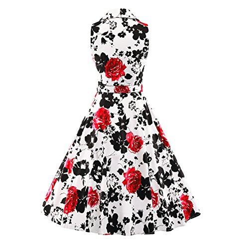 iLover Damen 40er 50er 60er Vintage Swing Rockabilly Pin Up Ballkleid Partei Kleid Abend Blumenhemdkleid Rot