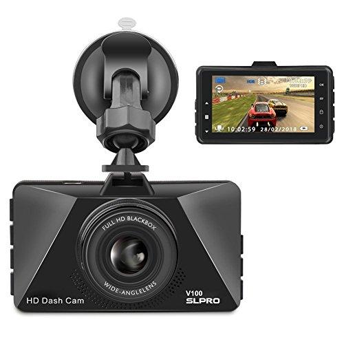 SLPRO V100 Full HD 1080P Dashcam Autokamera Video Recorder mit 170° Weitwinkelobjektiv, 3 Zoll LCD-Bildschirm, WDR, Bewegungserkennung, Parkmonitor, Loop-Aufnahme, Nachtsicht und G-Sensor