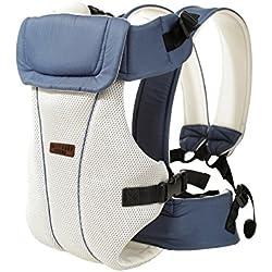 Portabebés delantero y trasero ajustables 4 posiciones de mochila mochila suave estructurado ergonómico para recién nacidos, bebés y niños pequeños Por GOMNEAR (azul)
