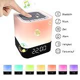 StillCool LED Bluetooth Lautsprecher Lampe Tcouch Dimmbar Farbwechsel Nachtlampe Nachtlicht 2/24H Zeituhr Digital Kalender Wecker Nachtlicht Wake-Up Licht MP3-Player Micro SD-Karte SD/USB/3,5 mm