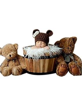 Binlunnu, cappello a uncinetto, per neonato, motivo orsetti, ideale per travestimento o per scenografia fotografica