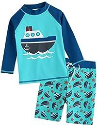vaenait Baby 2T de 7T Kids Boys Rashguard Swimsuit Long Camiseta and Pantalones Cortos Set, Ocean Boat