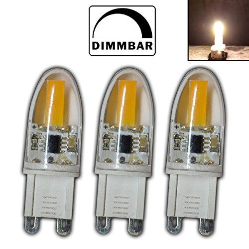3x Stk. G9 mini COB LED 2 Watt dimmbar A++ warmweiß aus Silikon 360° Grad Energiesparlampe Lampe Strahler Glühbirne Birne Halogen Halogenersatz