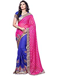 Womanista Women's Embroidered Faux Crepe Saree with Blouse Piece