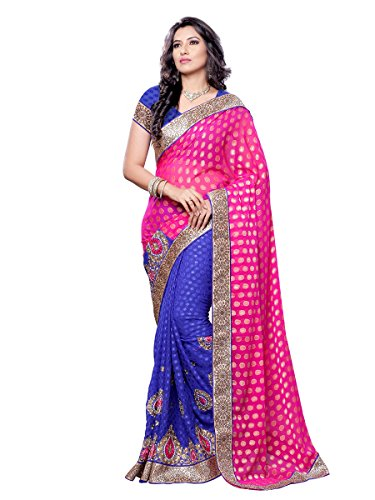 Womanista Women\'s Embroidered Faux Crepe Saree with Blouse Piece (FS6012-Pink & Blue-Free Size)