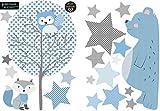 greenluup große, ökologische Wandsticker aus Vlies Waldtiere Tiere Bär Sterne Baum Blau Grau Baby Kinder Junge Mädchen Kinderzimmer Babyzimmer (w9)