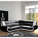 Muebles Bonitos – Sofá Luana New negro con blanco - chaise longue Derecha