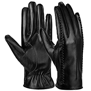 Ystms Outdoor Women Warm Gloves Touch Screen Gloves Thickened Winter Leather Gloves