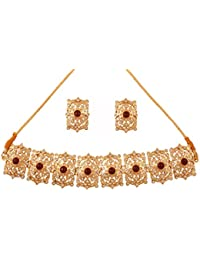 Touchstone Indian Mughal Era Inspired Faux Ruby Pearls White Crystals Alloy Metal Grand Choker Jewelry Necklace Set In Gold Tone For Women